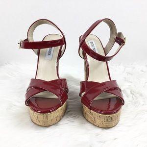 Steve Madden Red Patent Cork Platform Heels